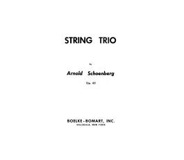 SCHOENBERG A. STRING TRIO